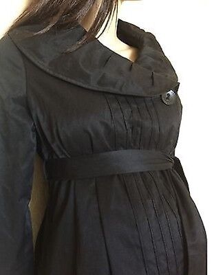 EUC LIZ LANGE maternity XS Black Lined Peacoat Very Nice Trench Coat with Belt