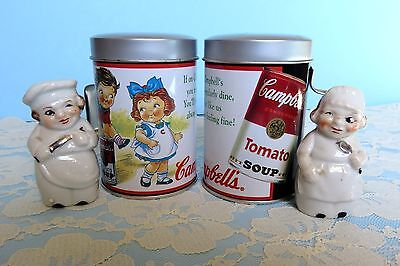 Salt Pepper Shakers Vintage Lot Japan Campbell Soup Metal Set 2 Pair Chefs