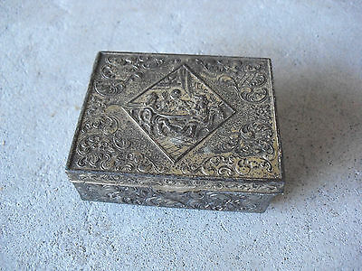Small Antique Japan Wood Metal Card Players on Lid Ring Box LOOK