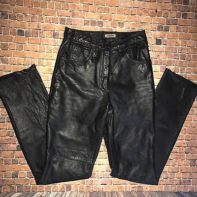 Vintage 80's Women's TOFFS Black 100% Leather Pants Size 6 ~High Waisted