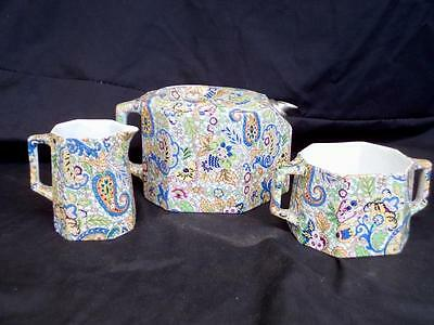 1920's Rare Art Deco G.M.Creyke & Sons Paisley Pattern Teapot Set w/ Metal Spout