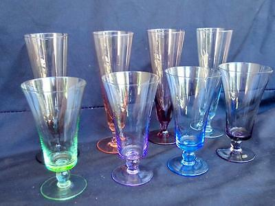 Set of 8 c.1940's Art Deco Art Glasses Various Colours Shapes Sizes Immaculate