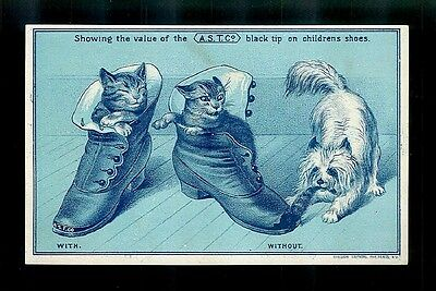 Cats Hide From Dog In Boots-1880s Victorian Trade Card