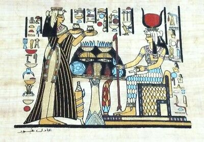 Original Papyrus, Isis Goddess of Marriage, Queen Cleopatra, Handmade Painting-