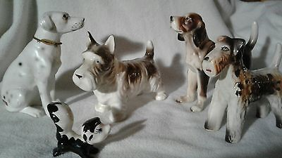 Lot of 4 vintage ceramic dogs 1 skunk Japan   Beagle Scotty Airedale Dalmatian
