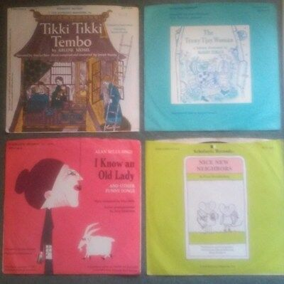 Scholastic Records 33 1/3 rpm Vintage lot of 4 Tikki Tembo, I Know an Old Lady