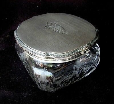LG. ART DECO DRESSER BOX *STERLING TOP* ETCHED CRYSTAL*McCHESNEY Co. c1920'S