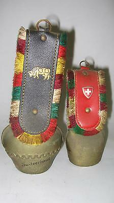 Lot of 2 Vintage SWISS COW BELLS made of BRASS, LEATHER & COLORFUL FRINGE