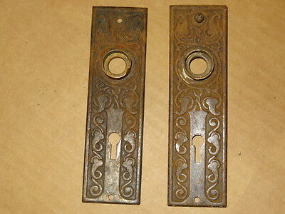 Antique Vintage Door Knob Back Plate   Ornate Art Deco - Pair Key Hole Cover