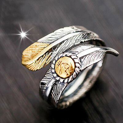 Sliver Wrap Navajo Signed Feather Open Ring Band Indian Jewelry Ring Fancy