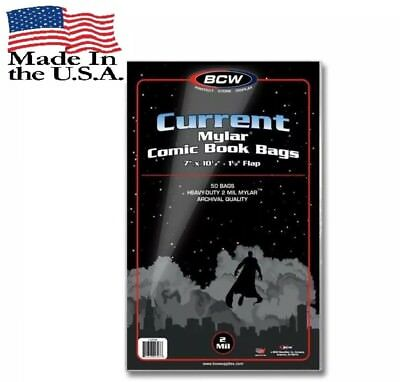 """Pack of 50 Bags BCW Current Comic Mylar Archivals-2 Mil 7""""x10 1/2""""+1 1/2"""" (#856)"""