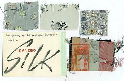 VINTAGE KANEBO SILK ADVERTISEMENT BROCHURE w 4 JAPANESE SILK SAMPLE SWATCH Japan
