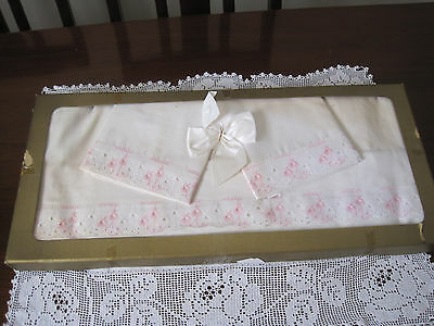 Vintage Unused Boxed Db Sheets And Pillowcases With Pink Floral Embroidery