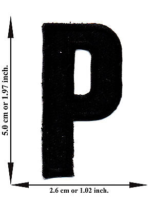Alphabet P Black Color English Letter Applique Iron on Patch Sew For T-shirt