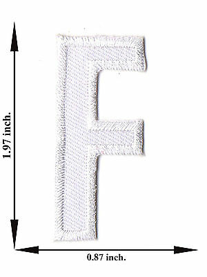Alphabet F White Color English Letter Applique Iron on Patch Sew For T-shirt