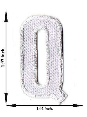 Alphabet Q White Color English Letter Applique Iron on Patch Sew For T-shirt