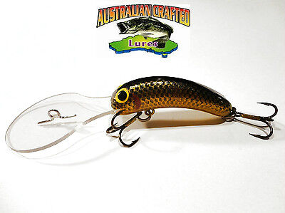 Australian Crafted Lures- 50mm slim invader PERCH col;21, 30ft a.c.lures