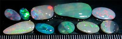 Ten Cut And Polished Opals From Lightning Ridge