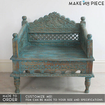 MADE TO ORDER Hand Carved Daybed Mattress Balinese Day bed Rustic Blue Sofa