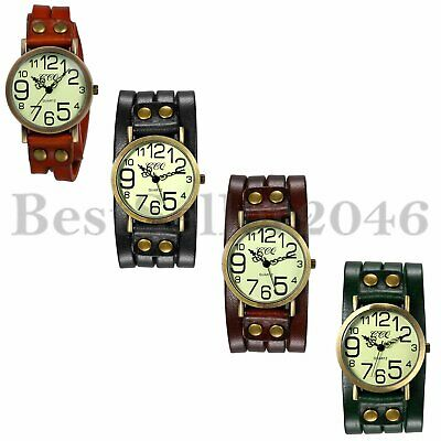 Vintage Punk Big Dial Multilayer Leather Women Men Quartz Analog Wrist Watch