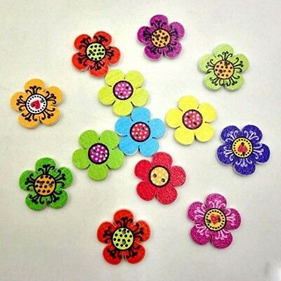 100PCS Cute Mixed Color useful Scrapbooking 2-Holes Wooden Buttons Flower Dots