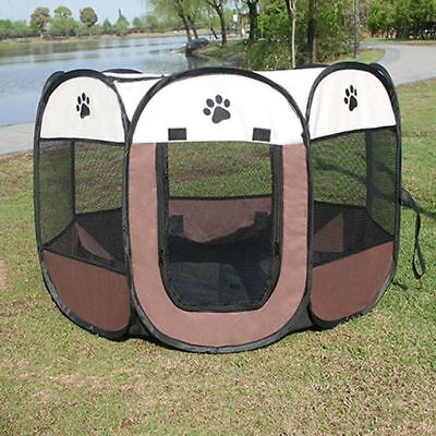 Pet Dog Cat Playpen Tent Portable Collapsible Exercise Fence Kennel Cage Crate