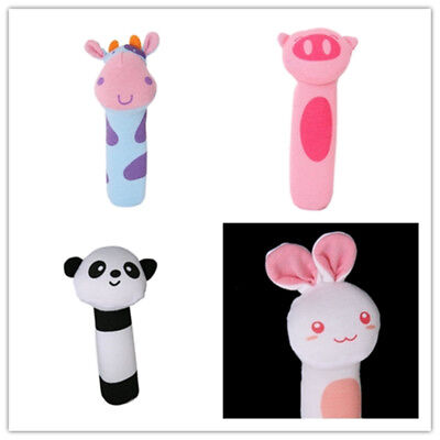 US STOCK Baby Soft Animal Toy Rattle Squeaker Plush Suitable For Infant