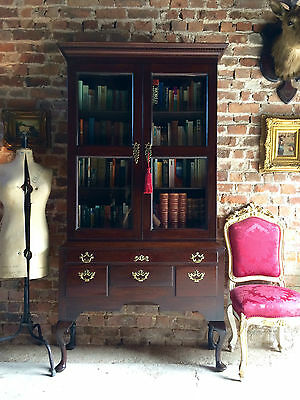 Antique George III Bookcase Mahogany Display Two Door Cabinet