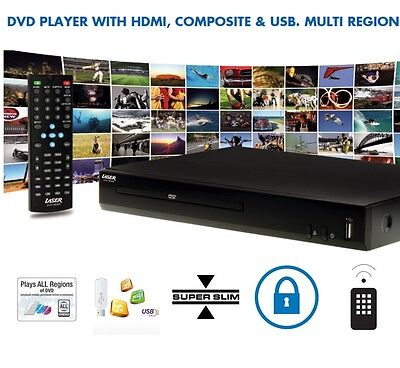Region Free DVD Player with Remote Control HDMI USB Multi Region CD MP3 Disc