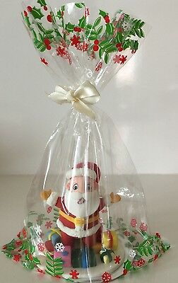 12 x CHRISTMAS HOLLY Cupcake Cello TREAT Bags with Ribbon & Silver Cake Cards