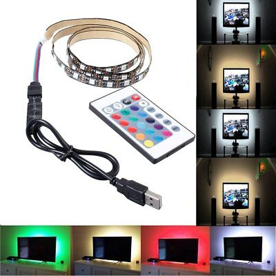 5V 50-500CM USB Cable Power LED Strip Light TV Back Kits  Warm Cool/White/RGB