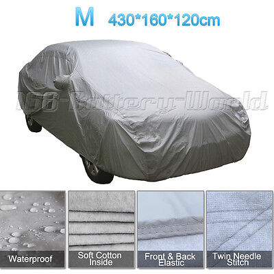 2 Layer Medium M Heavy Duty Waterproof Car Cover Cotton Lined Rain Protection UK