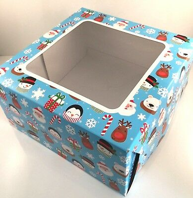 "2 x 10"" inch CHRISTMAS CAKE BOXES FESTIVE SQUARE clear Window FUN Santa DESIGN"