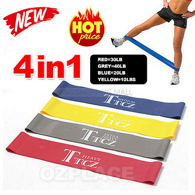 Set Of 4 Heavy Duty Resistance Loop Band Power GYM Fitness Exercise YOGA WORKOUT