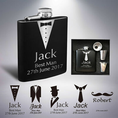 Personalised Hip Flask 6oz Engraved Valentine's Day Gift Wedding Gift Groom man