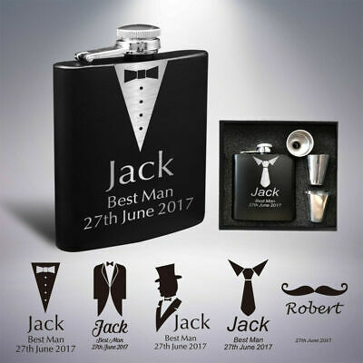 Personalised Hip Flask Engraved Stainless Steel 6oz Wedding Best Man Usher Gift