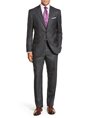 Luciano Natazzi Mens Two Button 2 Piece Modern Fit Suit Ticket Pocket Jacket