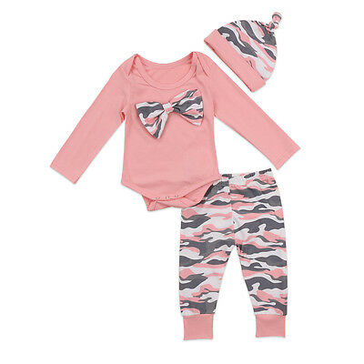 Camouflage Newborn Baby Boys Girls Tops Romper Pants Outfits Set Clothes Casual
