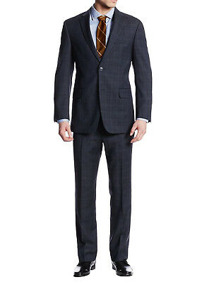 Luciano Natazzi Mens Two Button 2 Piece Plaid Suit Jacket With Pant Trim-Fit
