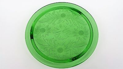 Vintage Collectible Green Depression Glass Sunflower Cake Plate