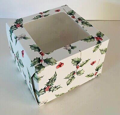 "4 x CHRISTMAS CAKE BOXES 6 x 6 x 4 "" inch FESTIVE Square with clear Window XMAS"