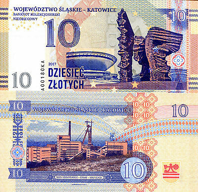 POLAND 10 Zlotych Fun-Fantasy Note 2017 Issue Katowice #3 (in a 3 note series)