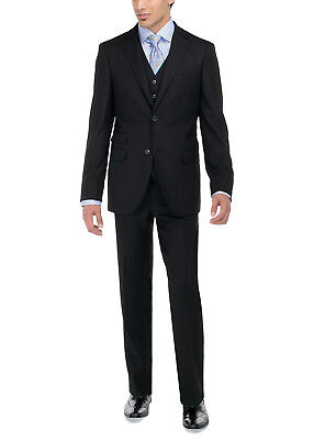 Luciano Natazzi Mens Two Button 3 Piece Vested Suit Set Birds Eye Modern Fit