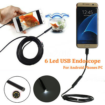 1/2/3.5/5m 5.5mm 6 LED 1.3M Inspection Micro USB Endoscope For Phone Tablet