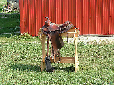 AMISH Pine Saddle Rack Stand No Tool Assembly - wood