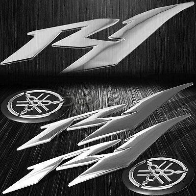 "6"" ABS 3D Logo Emblem+2""Fairing/Fender Badge Sticker for YZF-R1/R1S/R1M Chromed"