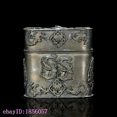 Chinese Antique Tibet Silver Hand Carved Dragon & Phoneix Motif Box