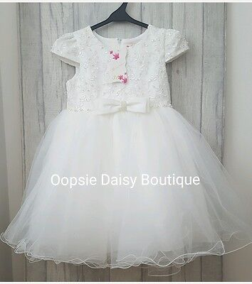 SALE - Ivory/Cream Roses & Pearls Sparkle Dress-Christening Bridesmaid Wedding