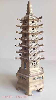 Collectible,Chinese ancient Bless peace,Seven-storey pagoda ,brass statue
