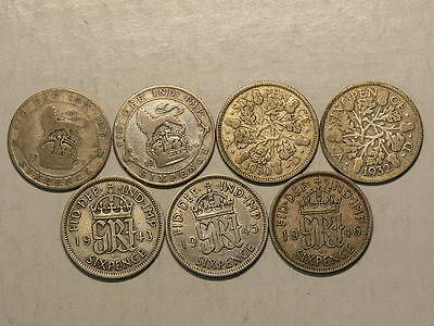 Great Britain, Lot of 7 Silver 6 Six Pence, 1920 to 1946, No Duplicates  #G6784